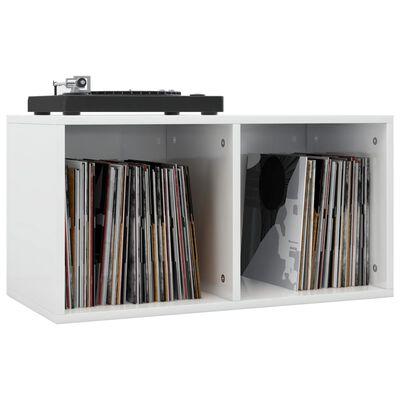 vidaXL Cutie de depozitare vinyl-uri, alb lucios, 71 x 34 x 36 cm, PAL