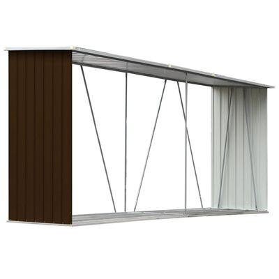 vidaXL Șopron depozitare lemne, maro, 330x84x152 cm, oțel galvanizat