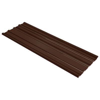 vidaXL Panouri pentru acoperiș, 12 buc., maro, oțel galvanizat