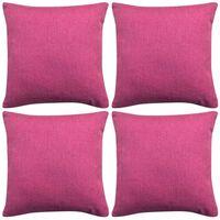 vidaXL Huse de pernă cu aspect de pânză, 40 x 40 cm, roz, 4 buc.