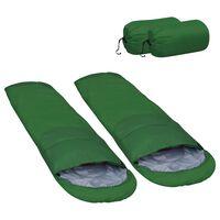 vidaXL Sac de dormit ușor, 2 buc., verde, 850 g, 15 ℃