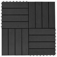 vidaXL Plăci de pardoseală, 22 buc., negru, 30 x 30 cm, WPC, 2 mp