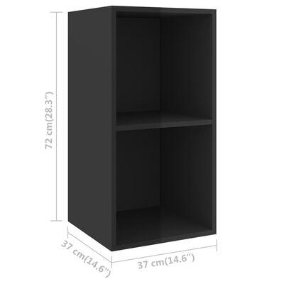 vidaXL Dulapuri TV montate pe perete, 4 buc., negru extralucios, PAL