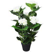 vidaXL Plantă artificială Hydrangea cu ghiveci, 60 cm, alb