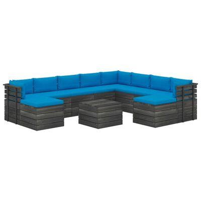 vidaXL Set mobilier grădină din paleți cu perne, 11 piese, lemn de pin