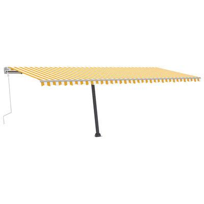 vidaXL Copertină retractabilă manual cu LED, galben și alb, 600x350 cm