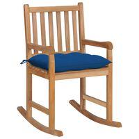 vidaXL Scaun balansoar cu pernă albastră, lemn masiv de tec