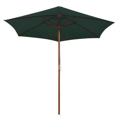 vidaXL Umbrelă de soare cu stâlp de lemn 270 x 270 cm, verde