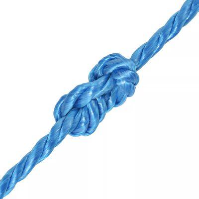 vidaXL Frânghie împletită polipropilenă 6 mm 200 m, albastru