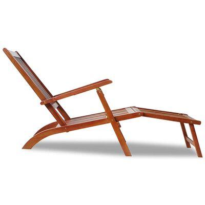 Șezlong din lemn de acacia pentru exterior cu suport pentru picioare