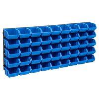 vidaXL Set cutii depozitare, 48 piese, panouri perete, albastru&negru