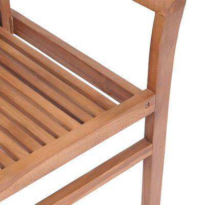 vidaXL Scaune de bucătărie, cu perne crem, 6 buc., lemn masiv de tec