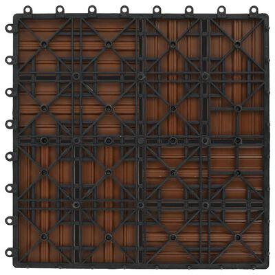 vidaXL Plăci de pardoseală 11 buc, maro, 30 x 30 cm, WPC, 1 mp