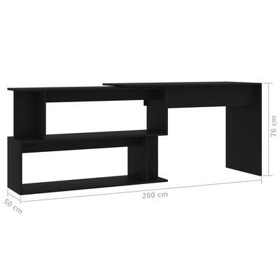 vidaXL Birou de colț, negru, 200 x 50 x 76 cm, PAL