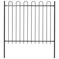 vidaXL Gard de grădină cu vârf curbat, negru, 1,7 x 1,5 m, oțel