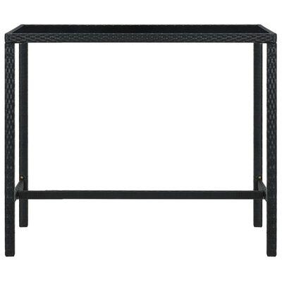 vidaXL Masă de bar grădină, negru, 130x60x110 cm, poliratan și sticlă