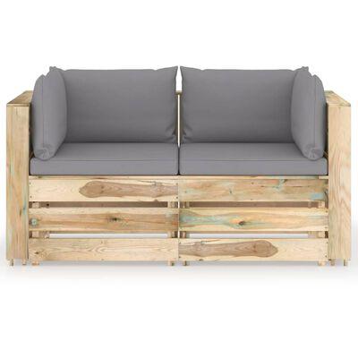 vidaXL Canapea de grădină cu 2 locuri, cu perne, lemn verde tratat