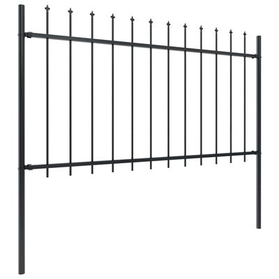 vidaXL Gard de grădină cu vârf suliță, negru, 11,9 x 1 m, oțel