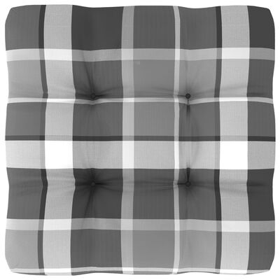 vidaXL Pernă canapea din paleți, gri, model carouri, 50x50x12 cm