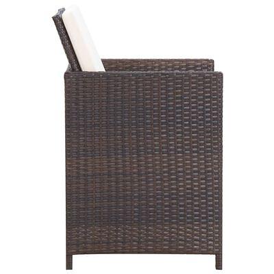 vidaXL Set mobilier de exterior cu perne, 5 piese, maro, poliratan