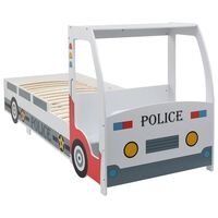 vidaXL Pat de copii cu birou tip mașină de poliție, 90x200 cm