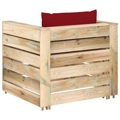 vidaXL Set mobilier de grădină cu perne, 2 piese, lemn verde tratat
