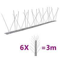 vidaXL Set bandă cu țepi antipăsări cu 4 rânduri, 6 buc., oțel, 3 m