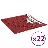 vidaXL Plăci mozaic autoadezive, 22 buc., roșu, 30x30 cm, sticlă