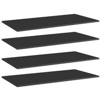 vidaXL Plăci bibliotecă, 4 buc. negru extralucios 80 x 30 x 1,5 cm PAL