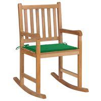 vidaXL Scaun balansoar cu perne verzi, lemn masiv de tec