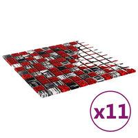 vidaXL Self-adhesive Mosaic Tiles 11 pcs Black and Red 30x30 cm Glass