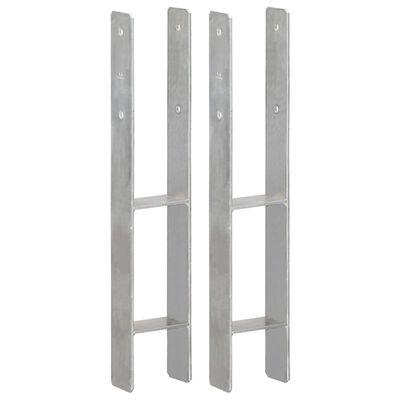 vidaXL Ancore de gard, 2 buc., argintiu, 10x6x60 cm, oțel galvanizat