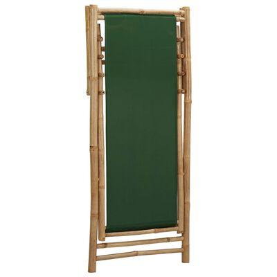 vidaXL Scaun pliabil, verde, bambus și pânză