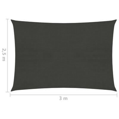 vidaXL Pânză parasolar, antracit, 2,5x3 m, HDPE, 160 g/m²