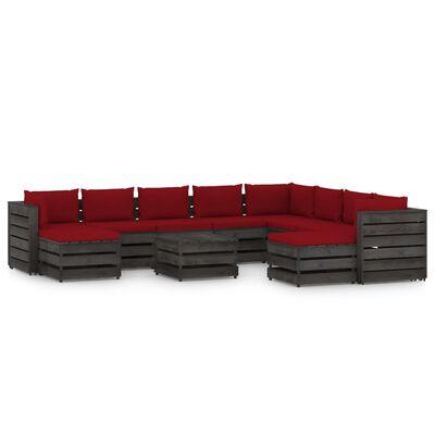 vidaXL Set mobilier de grădină cu perne, 11 piese, gri, lemn tratat