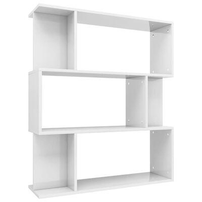 vidaXL Bibliotecă/Separator cameră, alb lucios, 80x24x96 cm, PAL