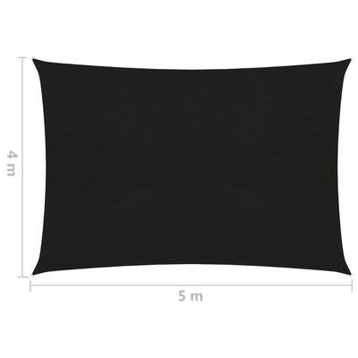 vidaXL Pânză parasolar, negru, 4x5 m, HDPE, 160 g/m²