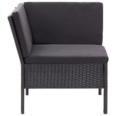 vidaXL Set mobilier de grădină cu perne, 3 piese, negru, poliratan
