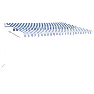vidaXL Copertină automată cu senzor vânt&LED, albastru/alb, 400x350 cm