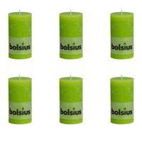 Bolsius Lumânare bloc rustică, 6 buc., verde lime, 130 x 68 mm