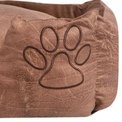 vidaXL Pat pentru câini cu pernă, piele artificială, mărime S, bej