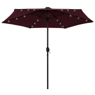 vidaXL Umbrelă de soare, LED-uri și stâlp aluminiu, bordo, 270 cm