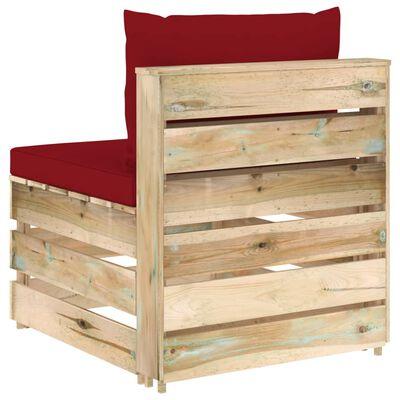 vidaXL Canapea de mijloc modulară cu perne, lemn verde tratat