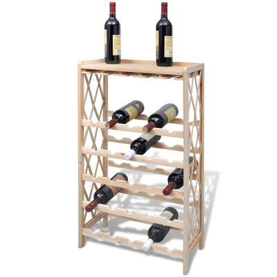 vidaXL Suport pentru 25 de sticle de vin, lemn masiv de brad