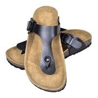 vidaXL Sandale femei din plută bio, model flip flop, negru, mărime 38