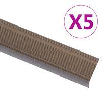 vidaXL Profile trepte în formă de L, 5 buc, maro, 90 cm, aluminiu
