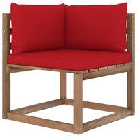 vidaXL Canapea de grădină din paleți colțar, perne roșii