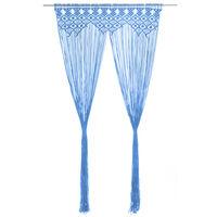 vidaXL Perdea macrame, albastru, 140 x 240 cm, bumbac