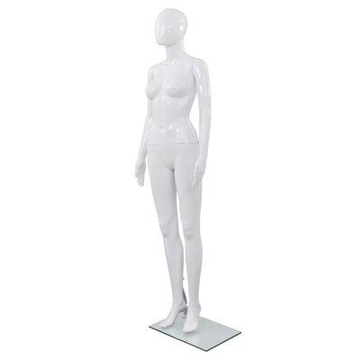 vidaXL Corp manechin feminin, cu suport din sticlă, alb lucios, 175 cm