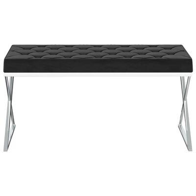 vidaXL Banchetă, 97 cm, catifea neagră și oțel inoxidabil